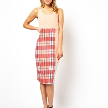 ASOS Check Print Mix Shift Midi Dress - Pink