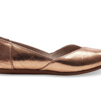 Rose Gold Leather Women's Jutti Flats