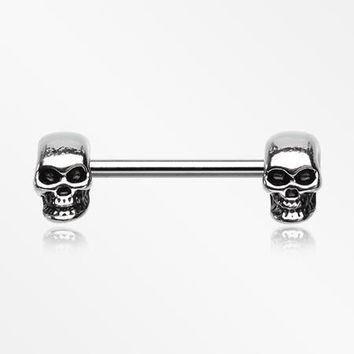 A Pair of Apocalyptic Skull Nipple Barbell Ring