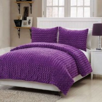 Girls Kids Bedding- Rose Fur Purple Comforter Set