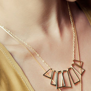 Trapeze Necklace in Gold by shlomitofir on Etsy