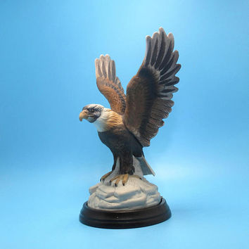 Vintage porcelain eagle statue on wood base - Arnart Porcelain Limited Edition - Royal Crown - J Byron 1983 - Americana - Patriotic
