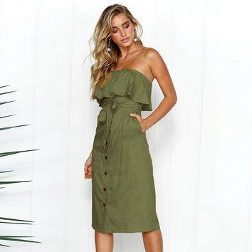 Beach Summer Dress Women Sexy Strapless Bow Tie Off Shoulder Party Dress with Belt 2019 Ladies Casual Button Holidays Dress