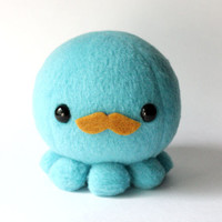 Blue Octopus Plush with Moustache by cheekandstitch on Etsy