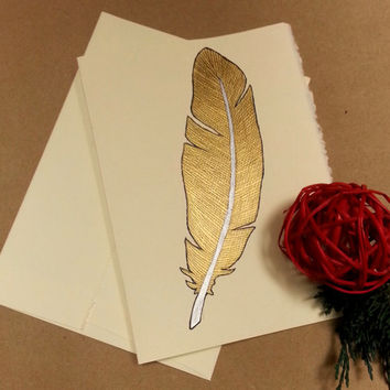 Rustic Christmas Card, Metallic Gold Feather, Custom Greeting Card, Original Watercolor Art, , Holiday Thank You Card, Bohemian Christmas
