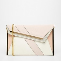 River Island | River Island Mixed Fabric Flat Asymmetric Clutch at ASOS