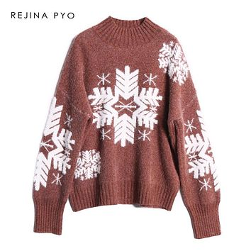 REJINAPYO Women Snowflake Crocheted Thick Warm Casual Sweater Female Fashion Winter Pullover Turtleneck Oversized Sweater