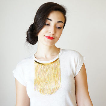 Light Yellow Fringe Necklace Statement Necklace Mom Gift For Her Women Gift For Girlfriend Sister Gift For Best Friend Christmas / CHEORA