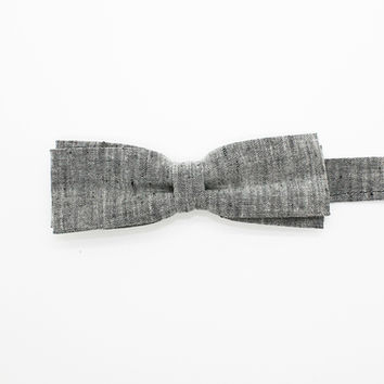 Light Grey Linen Skinny Bow Tie