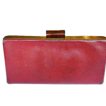 Evans Clutch, Red Leather, Snakeskin Style, Brown Bakelite, Hinged Frame, Designer Handbag, Vintage Purse