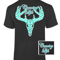 Country Life Outfitters Black & Aqua Chevron Deer Skull Head Hunt Vintage Bright T Shirt