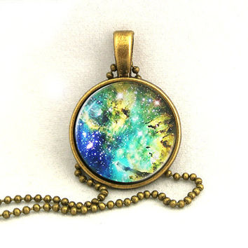 10 SALE Necklace Galaxy Blue Yellow Jewelry by timegemstone