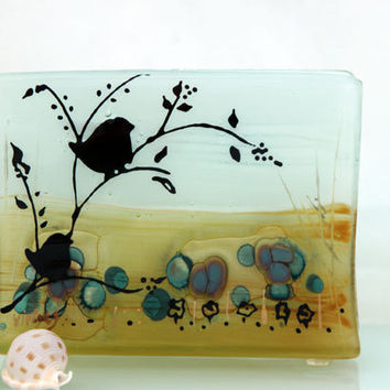 Fused Glass napkin holder ,birds  landscape .