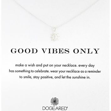 """Dogeared """"Reminder"""" Good Vibes Only Silver Sun Charm Pendant Necklace, 16"""""""