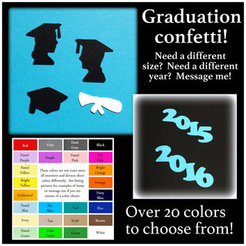 Graduation confetti, graduation party - big variety of color choices - diploma - head - cap - silhouette - boy - girl class of 2015 2016