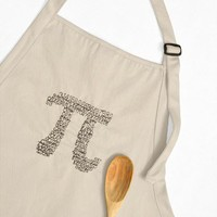 Apron Embroidered with Digits of Pi, Beige
