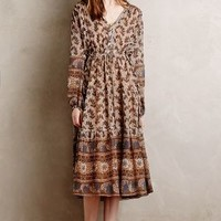 Ponta do Sol Silk Dress by Burning Torch Brown Motif