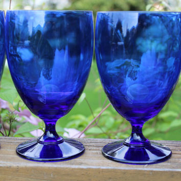 4 Vintage cobalt blue 8 oz goblets by Celebrity, lead crystal water glasses, retro blue crystal goblets, wedding toasting, bar cart glasses