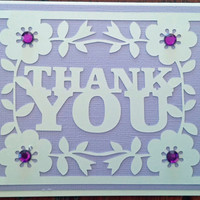 NEW!!  Handmade Lavender/Purple Wedding, Bridal and/or Baby Shower Thank You Card w/envelope