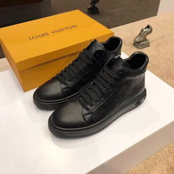 LV  MENS BOOTS Fashion Men's Flats Leather Sneakers Sport Shoes BOOTS Best Quality Black