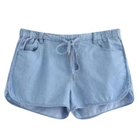 Pocketed Denim Shorts with Drawstring Waist - Light Blue