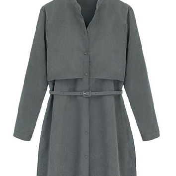 Nuna Charcoal Grey Belted Shirtdress