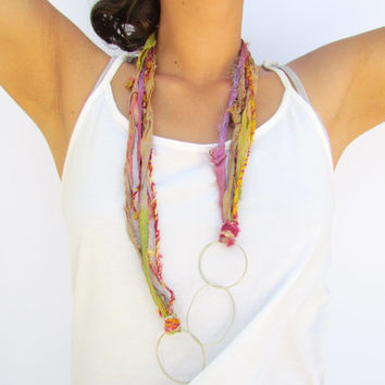 Silver Circles and Sari Silk Ribbons Necklace, Metalwork Loops Multicolor Fiber Women Jewelry