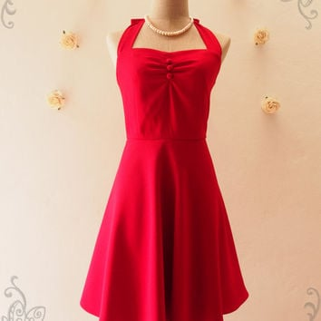 Red Vintage Bridesmaid Dress Red Summer Dress Halter Dress Red Sundress 50's Style Party Dress Beach Retro Dress Tea Length  -XS-XL,Custom