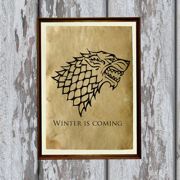 Starks sigil print Game of Thrones poster Fantasy decor 8.3 x 11.7 inches