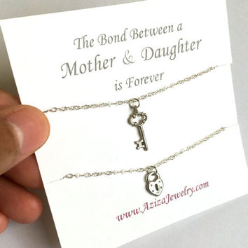 Matching Mother Daughter Necklaces. Sterling Silver Heart Key Necklace Set.
