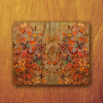 Colorful Butterfly Smell On The Wood Mouse Pad Vintage Mousepad Wooden Desk Deco Office Fabric Soft Rubber Pad Christmas Gift For Teacher