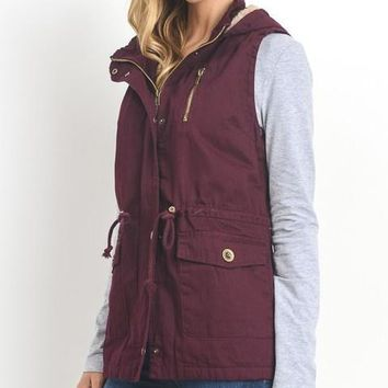 Good Instincts - Utility Vest with Hood in Mulberry