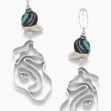 Vintage Abalone Whirlpool Earrings - White Gold