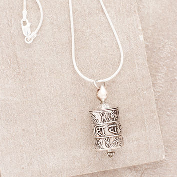 Prayer Wheel Silver Necklace