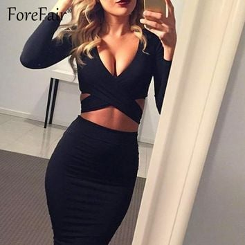 Forefair Sexy Criss-Cross V Neck Bodycon Dress Women Spring Long Sleeve Night Club Wear Wrap Party Dress Vestidos