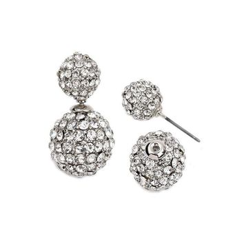 Gold Plated Crystal Double Sided Earrings