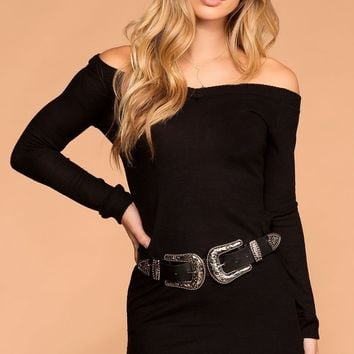 My Way Black Sweater Tunic