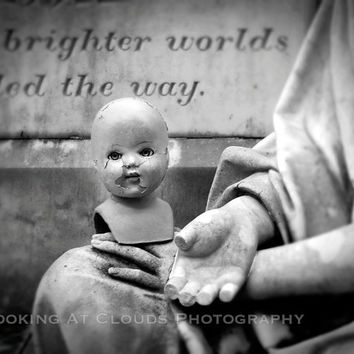 doll head - fine art photography - vintage doll head in hands - - creepy black and white 8x10 - IVY - amaze your friends