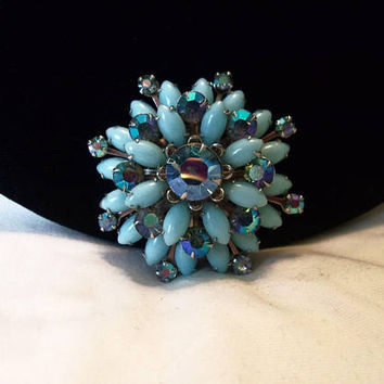 Judy Lee Flower Brooch Blue Milk Glass & AB Rhinestone Estate Silver Plate Pin 2""