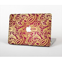 The Gold and Red Paisley Pattern Skin Set for the Apple MacBook Air 13""