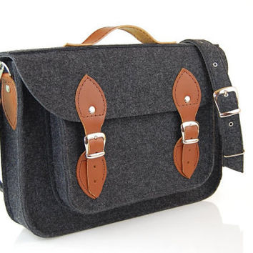 Laptop bag 15 inch with pocket, felt satchel, Macbook Pro 15 in, Custom size Laptop bag, sleeve, case, with leather straps and belt shoulder