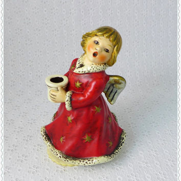Goebel Angel, Musical Figurine, Vintage 1966, Music Box, Silent Night, Hummel Germany, Sacrart Series, Red Porcelain, Singing Angel Figure