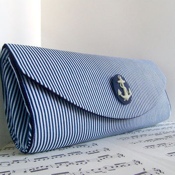 Nautical navy blue clutch purse Spring fashion Striped by toriska