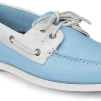 Sperry Top-Sider Authentic Original Flag Day 2-Eye Boat Shoe LightBlue/WhiteLeather, Size 8.5M  Men's Shoes