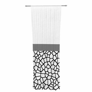 "Trebam ""Staklo (Gray Stripe)"" Black White Modern Contemporary Digital Vector Decorative Sheer Curtain"