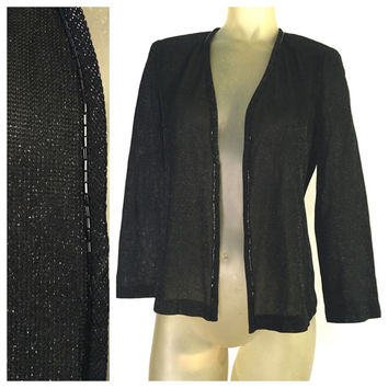 Formal Beaded Jacket, Black evening Open Jacket, Alex Evenings 6P Elegant Sheer Sparkly Black Open Blouse petite 6 Long Sleeve Formal jacket