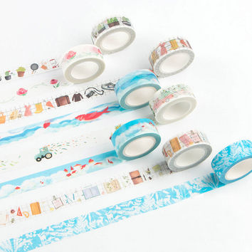 DIY Cute Kawaii Cartoon Decorative Washi Tape Lovely Lace Grid Tape For Home Decoration Scrapbooking Free Shipping 3016