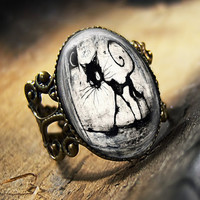 Black Cat & Moon Gothic Grunge Horror Halloween Antique Bronze Ring 479-AR