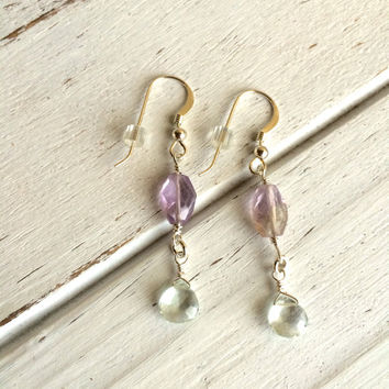 Beautiful Sterling Silver Wire Wrapped Ametrine & Aquamarine Earrings