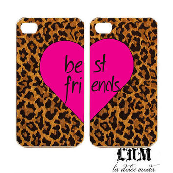 BEST FRIENDS leopard hot pink iPhone case set iPhone 4 iPhone 4s iPhone 5 hard plastic case one for you one for your friend